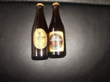 2 X VINTAGE MINIATURE BOTTLES GUINNESS TWO DIFFERENT LABELS WITH CAPS